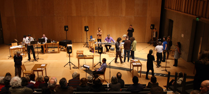 EXAUDI performs Cage 'Song Books' in the Britten Studio, Snape Maltings. Photo copyright Aldeburgh Music.
